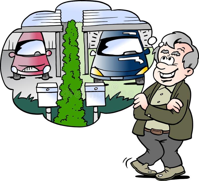 El ejemplo del vector de la historieta de un viejo hombre feliz compara el coche con el vecino libre illustration