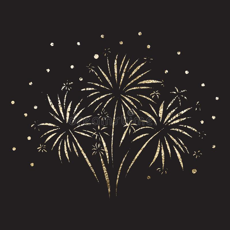 El ejemplo del vector de la hoja de oro del brillo del fuego artificial aisló Fuego artificial brillante metálico en fondo negro  libre illustration