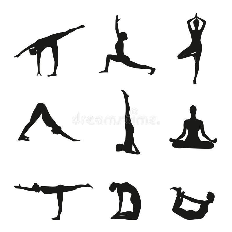 El ejemplo del vector de la yoga presenta la silueta stock de ilustración