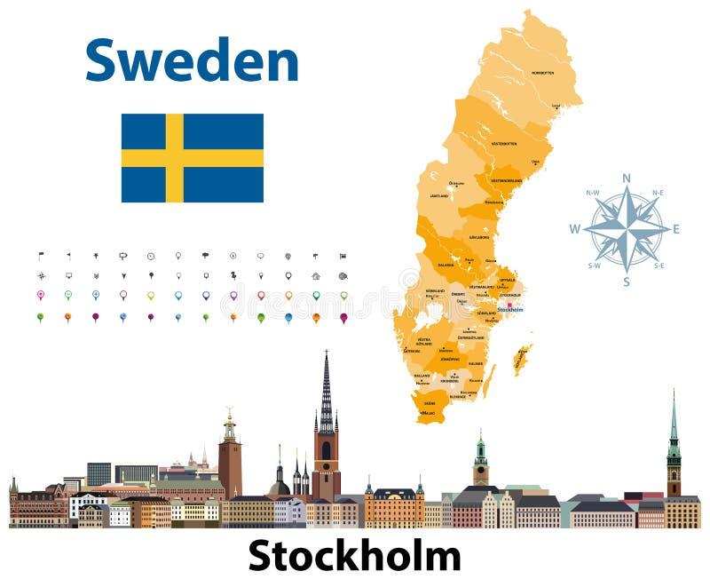 El ejemplo del vector de los condados de Suecia traza con horizonte de la ciudad de Estocolmo imagen de archivo libre de regalías