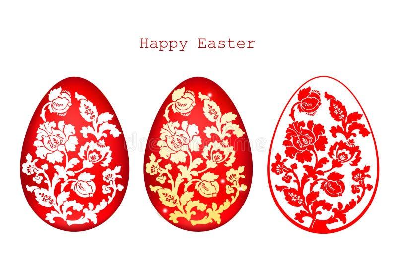 El ejemplo del vector de los huevos de Pascua adornados fijó en el fondo blanco stock de ilustración