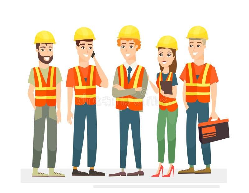 El ejemplo del vector de los trabajadores de construcción combina caracteres Hombres y mujeres en uniformes y cascos en el fondo  libre illustration