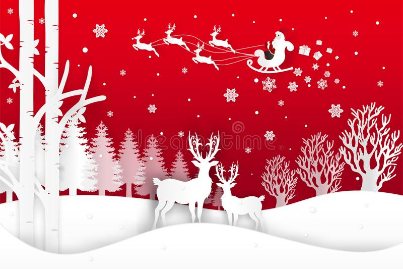 El ejemplo del vector de Santa Claus está viniendo a la ciudad y a los ciervos en bosque con nieve en la estación y la Navidad de libre illustration