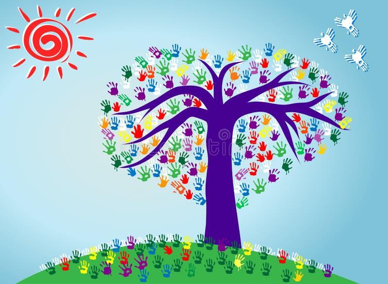 El ejemplo del vector de un árbol abstracto del corazón con la mano colorida imprime stock de ilustración