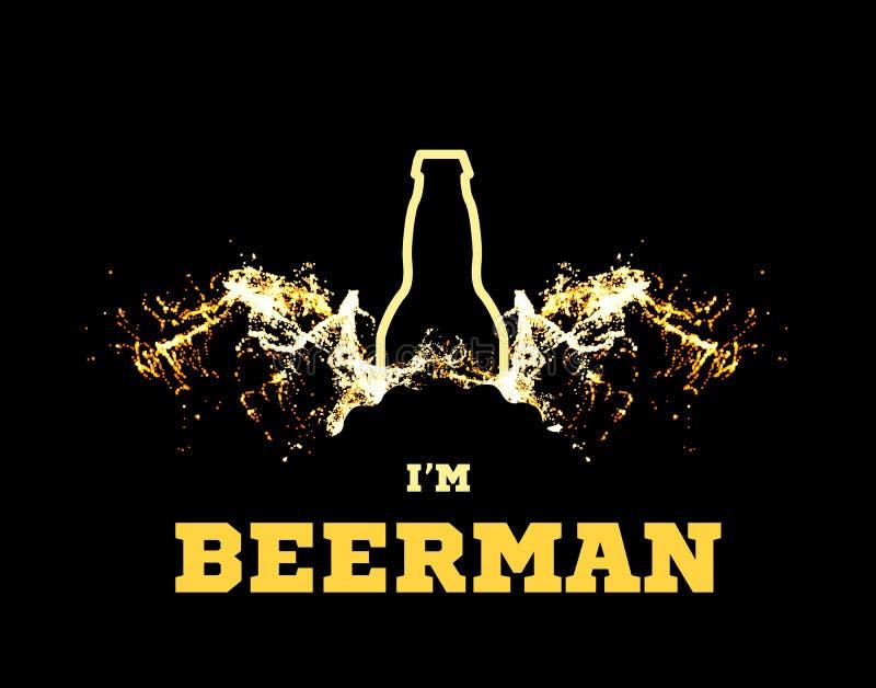 El ejemplo del vector de un beerman con las alas de la cerveza bajo la forma de salpica y una silueta de una botella ilustración del vector