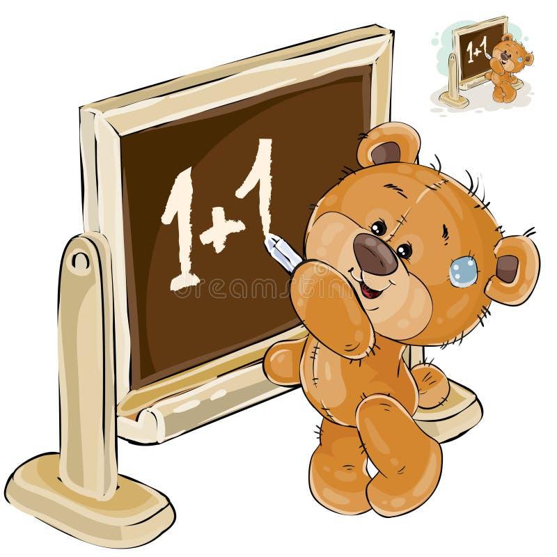 El ejemplo del vector de un oso de peluche marrón está haciendo una pausa la pizarra y está escribiendo en él con tiza libre illustration