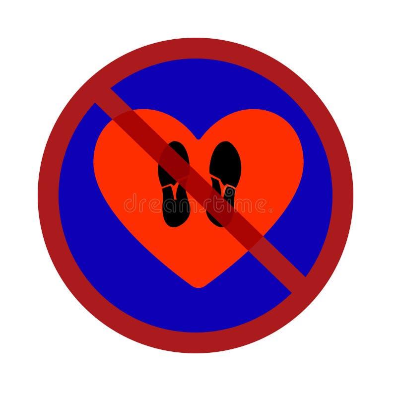 El ejemplo del vector de una señal de tráfico que prohíbe pisotea estilo plano del corazón de los zapatos stock de ilustración
