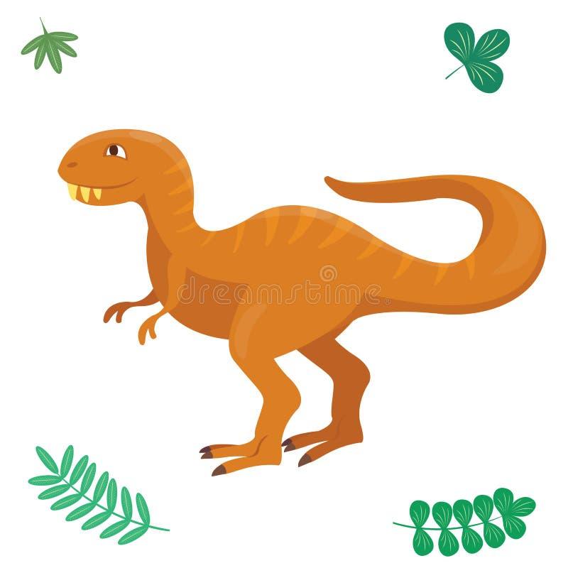 El ejemplo del vector del dinosaurio de la historieta aisló cómico jurásico despredador de Dino del monstruo del reptil prehistór libre illustration