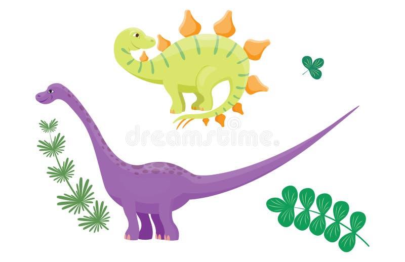 El ejemplo del vector del diplodocus de los dinosaurios de la historieta aisló el depredador prehistórico animal del reptil del c ilustración del vector