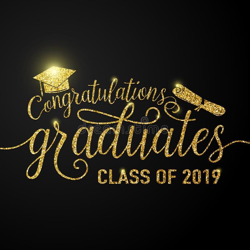 El ejemplo del vector en enhorabuena negra del fondo de las graduaciones gradúa la clase 2019 de, brillo, muestra que brilla libre illustration
