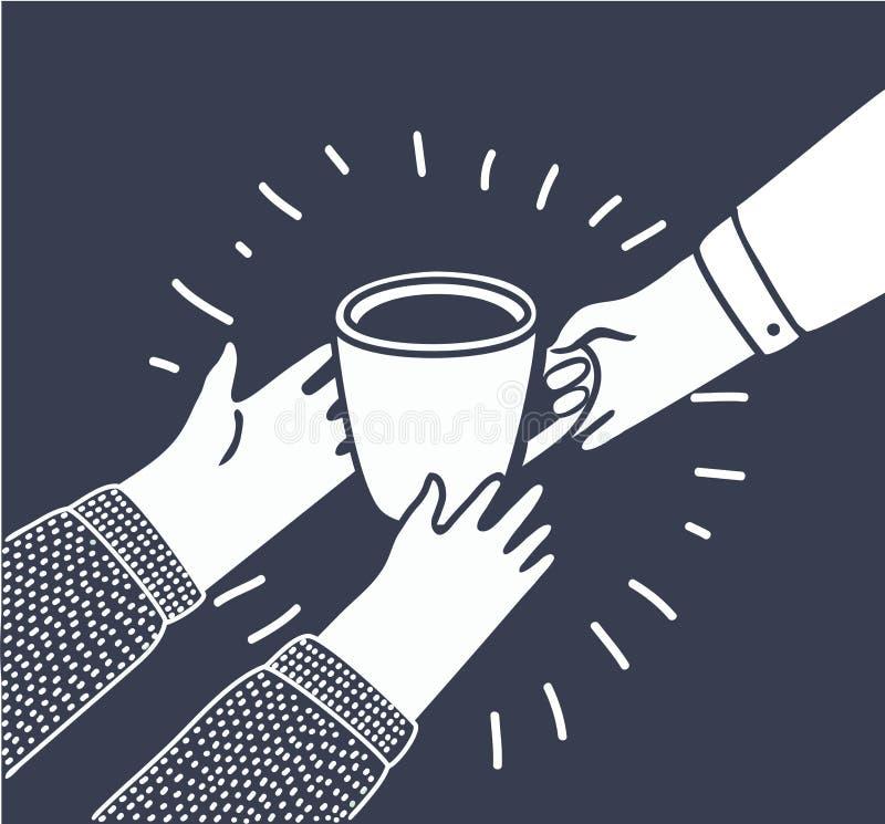 El ejemplo del vector en estilo de la historieta con las personas da a otras a la taza de café o de té de mano a mano libre illustration