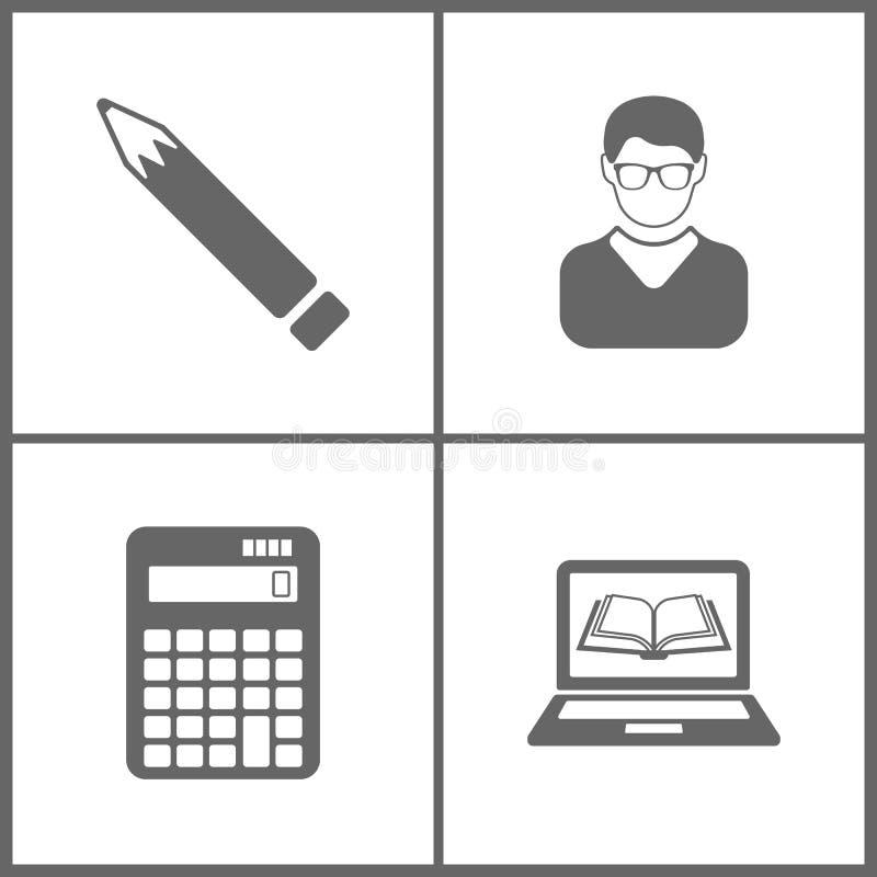 El ejemplo del vector fijó iconos de la educación de la oficina Elementos de la pluma, de Avatar, de la calculadora del vector y  stock de ilustración