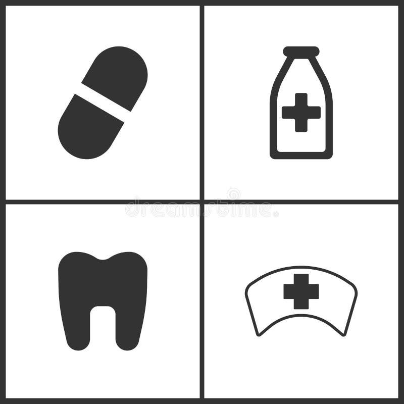 El ejemplo del vector fijó iconos médicos Elementos botella del frasco de la píldora, de la medicina, icono del diente y del doct libre illustration