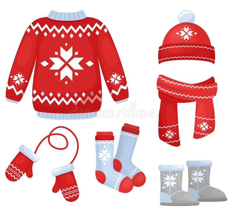 El ejemplo del vector del invierno viste la colección Sombrero y bufanda hechos punto, calcetines, guantes de la mano, suéter en  stock de ilustración