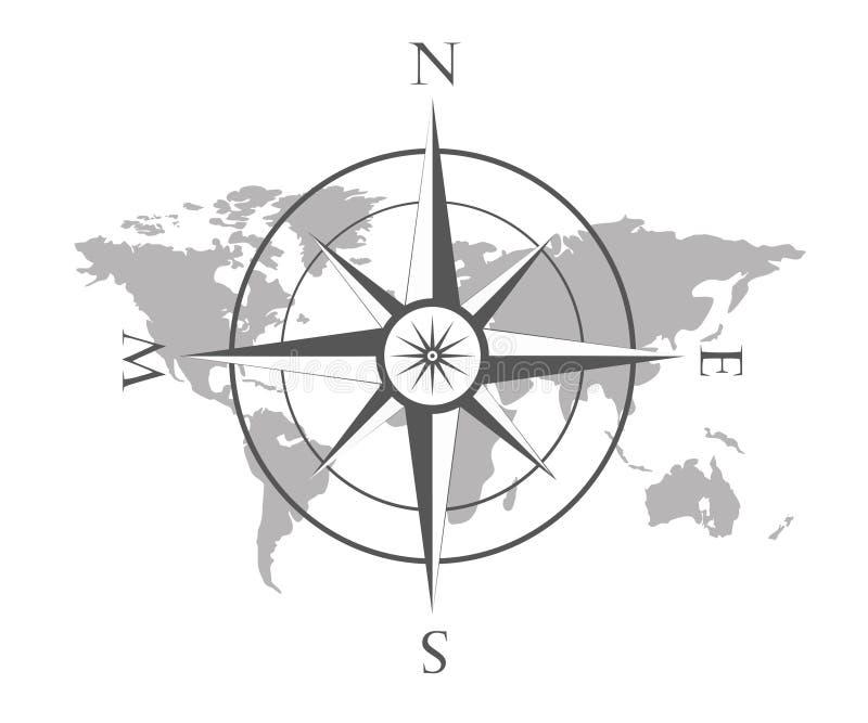 El ejemplo del vector del mapa del mundo con el viento subió, compás de la navegación stock de ilustración