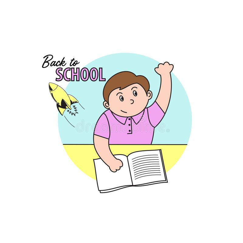 El ejemplo del vector del muchacho en clase en la escuela, alumnos quiere decir la respuesta stock de ilustración