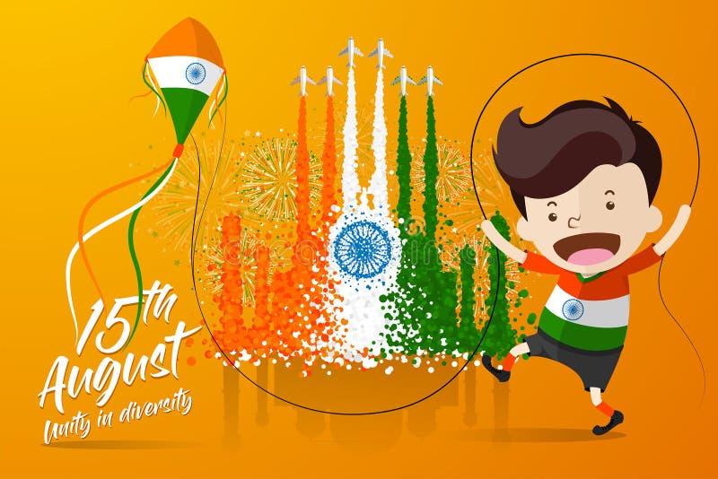 El ejemplo del vector para el 'Día de la Independencia de la India 'con un muchacho que juega la cometa delante del humo de avion ilustración del vector