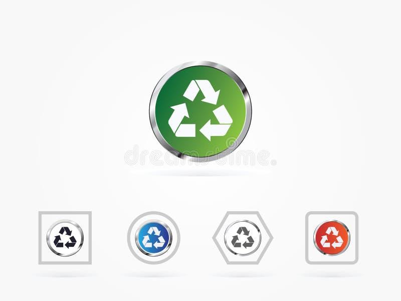 El ejemplo del vector recicla símbolo o la muestra del icono del verde de la protección stock de ilustración