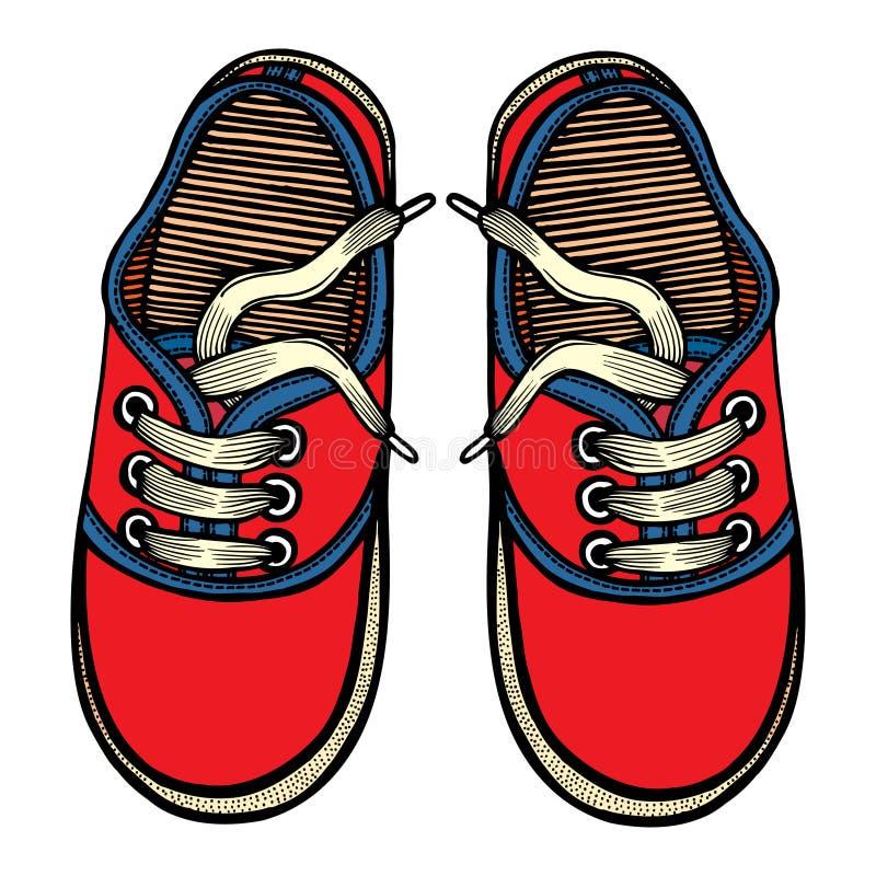 El ejemplo del vector rojo y el azul se divierte las zapatillas de deporte stock de ilustración