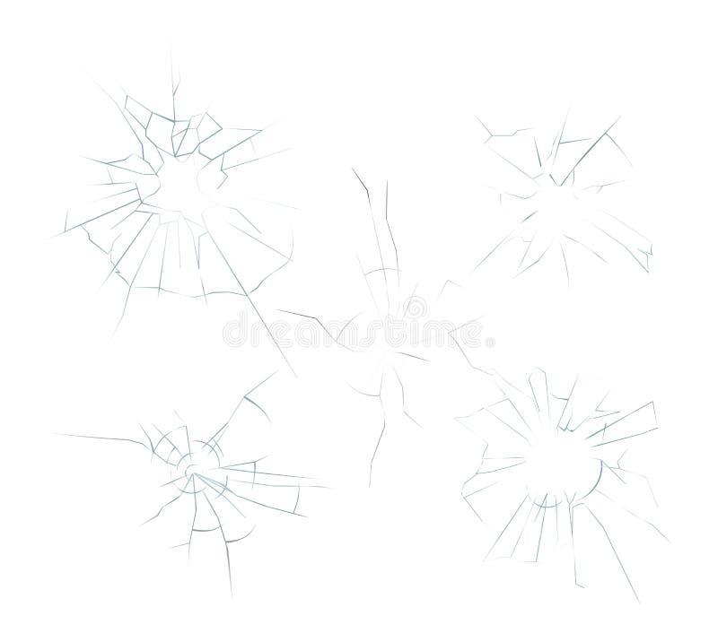 El ejemplo del vector del vidrio realista machacado agrietado fijó en el fondo blanco Agujeros de bala, smartphone roto libre illustration