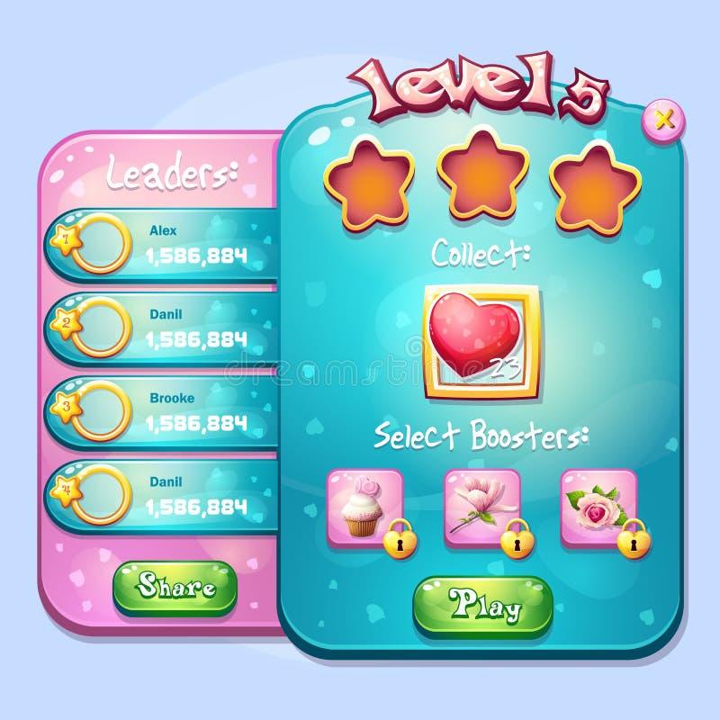 El ejemplo del ventana-nivel encarga para realizarse en un juego de ordenador ilustración del vector