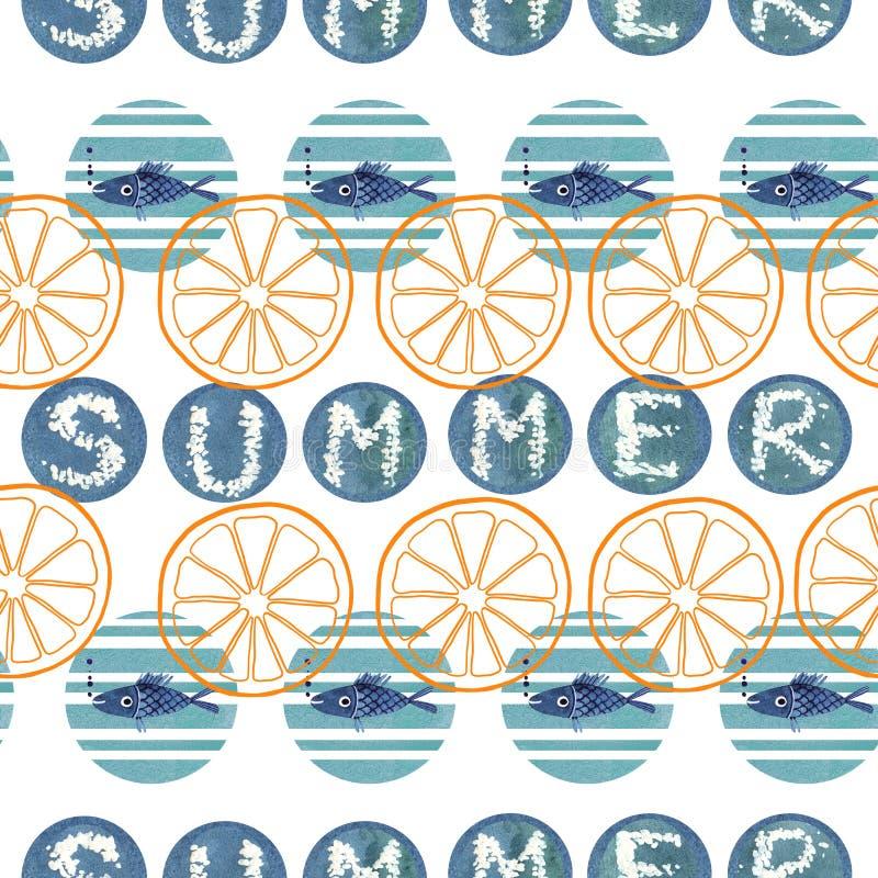 El ejemplo del verano del modelo inconsútil geométrico abstracto con la acuarela azul circunda stock de ilustración