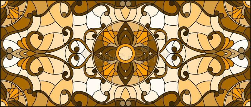 El ejemplo del vitral con las flores abstractas, remolina y se va en un fondo ligero, orientación horizontal, sepia libre illustration