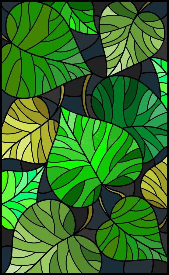 El ejemplo del vitral con verde deja árboles en un fondo oscuro stock de ilustración
