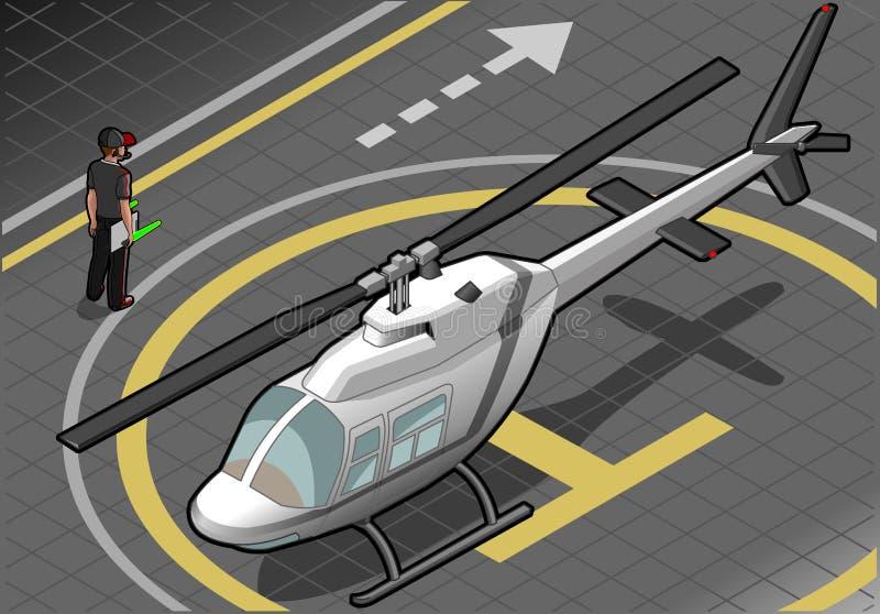 Helicóptero blanco isométrico aterrizado en vista delantera libre illustration