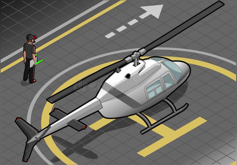 Helicóptero blanco isométrico aterrizado en vista posterior ilustración del vector