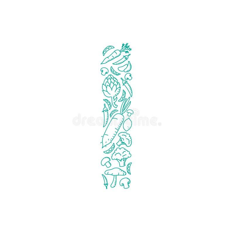 El ejemplo determinado de la letra I del modelo vegetal del alfabeto embroma diseño de concepto del dibujo de la mano libre illustration