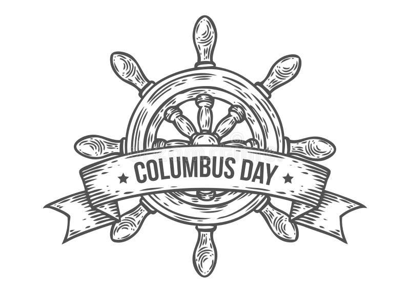 El ejemplo dibujado mano feliz del vector del día de Colón grabó estilo Vintage retro náutico libre illustration