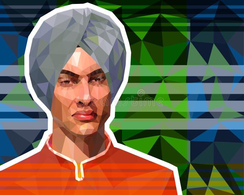 El ejemplo en el estilo bajo del pol?gono - un retrato de un sikh joven en un turbante ilustración del vector