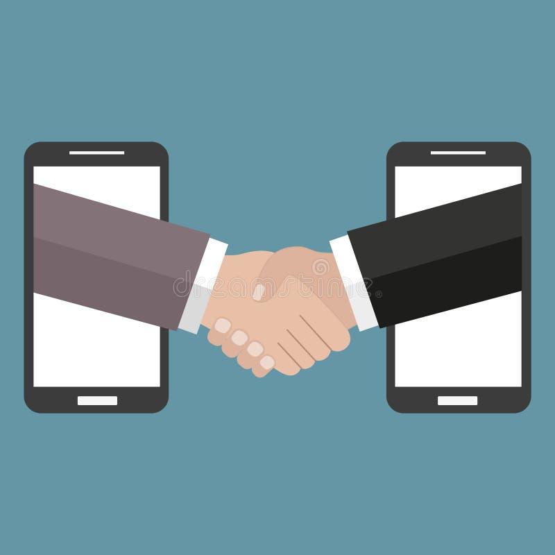 El ejemplo en estilo linear negro externaliza el negocio y el trabajo remoto - apretón de manos y teléfonos móviles en un fondo v stock de ilustración