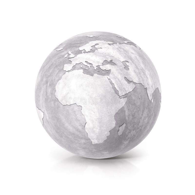 El ejemplo Europa y África del globo 3D del cemento traza libre illustration