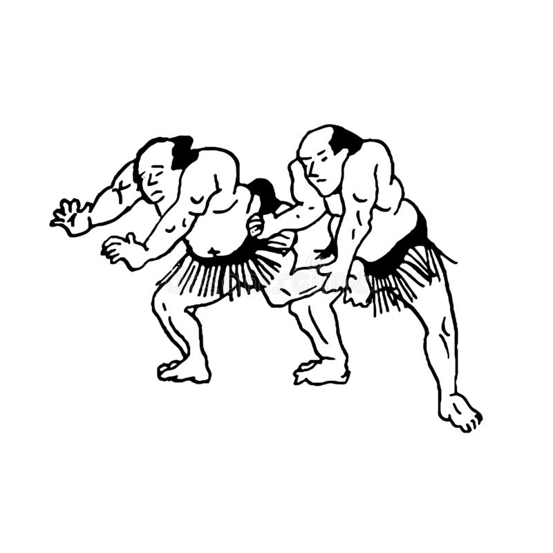 El ejemplo exhausto de la mano de los luchadores del hombre del sumo lucha en el fondo blanco stock de ilustración
