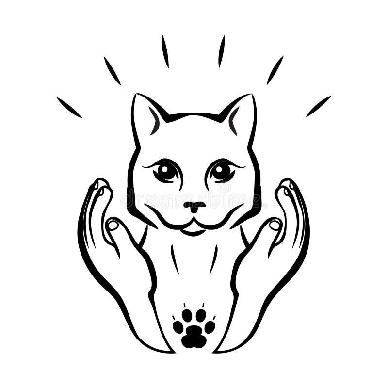 El ejemplo exhausto del vector del Kat/de la mano del pequeño gato lindo con los pájaros/se puede utilizar para el diseño del niñ ilustración del vector