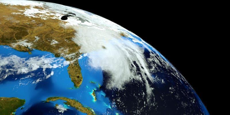 El ejemplo extremadamente detallado y realista de la alta resolución 3D del huracán Florencia que golpeaba la costa este de los E stock de ilustración