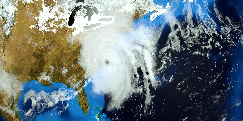 El ejemplo extremadamente detallado y realista de la alta resolución 3D del huracán Florencia que golpeaba la costa este de los E ilustración del vector