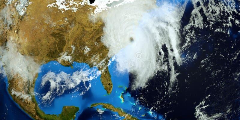 El ejemplo extremadamente detallado y realista de la alta resolución 3D del huracán Florencia que golpeaba la costa este de los E libre illustration