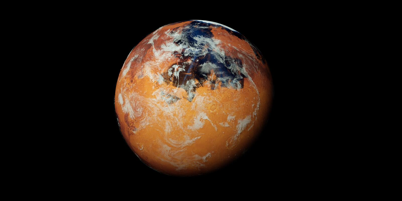 El ejemplo extremadamente detallado y realista de la alta resolución 3D de un Marte terraformed le gusta el planeta stock de ilustración