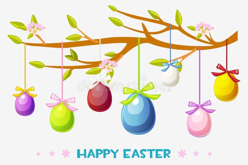 El ejemplo feliz de Pascua de la historieta, ejecución de la tarjeta de felicitación eggs en una rama de árbol libre illustration