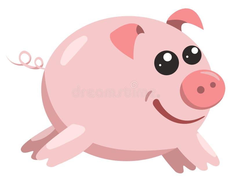 El ejemplo feliz rosado del vector del cerdo del color stock de ilustración