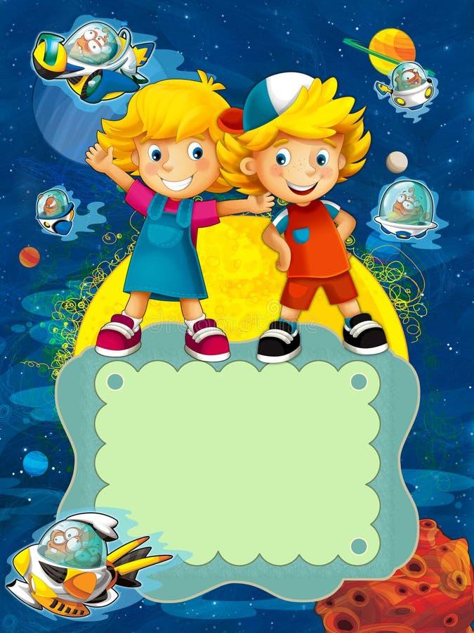 El grupo de niños preescolares felices - ejemplo colorido para los niños stock de ilustración