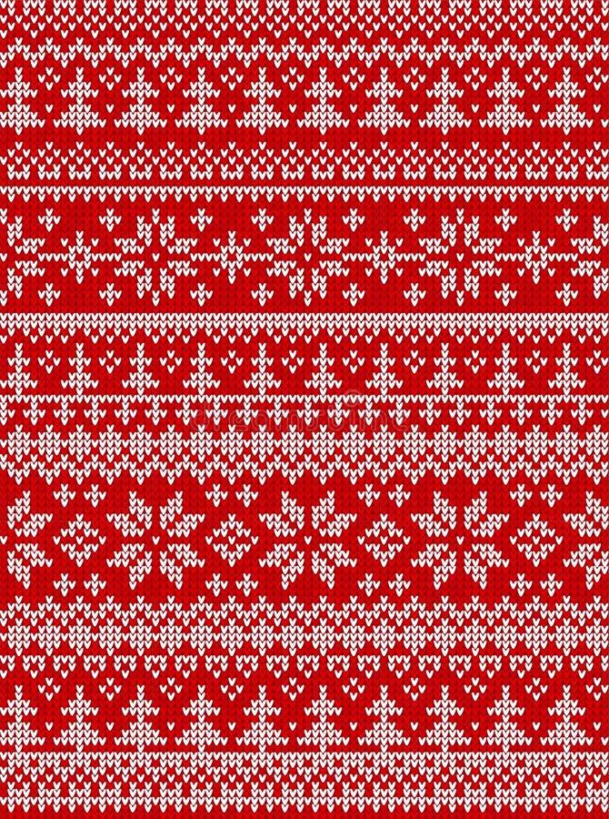 El ejemplo feo del vector de la Feliz Año Nuevo de la Feliz Navidad del suéter hizo punto al escandinavo popular del estilo del m ilustración del vector