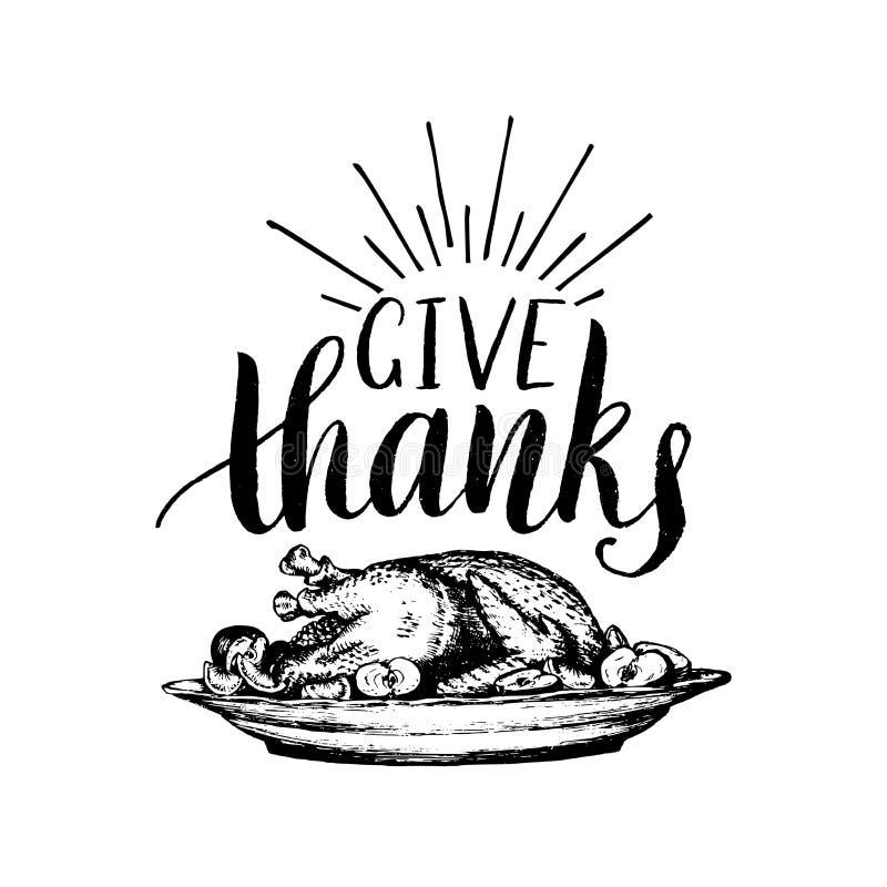 El ejemplo festivo del vector del pavo con da poner letras de las gracias invitación libre illustration