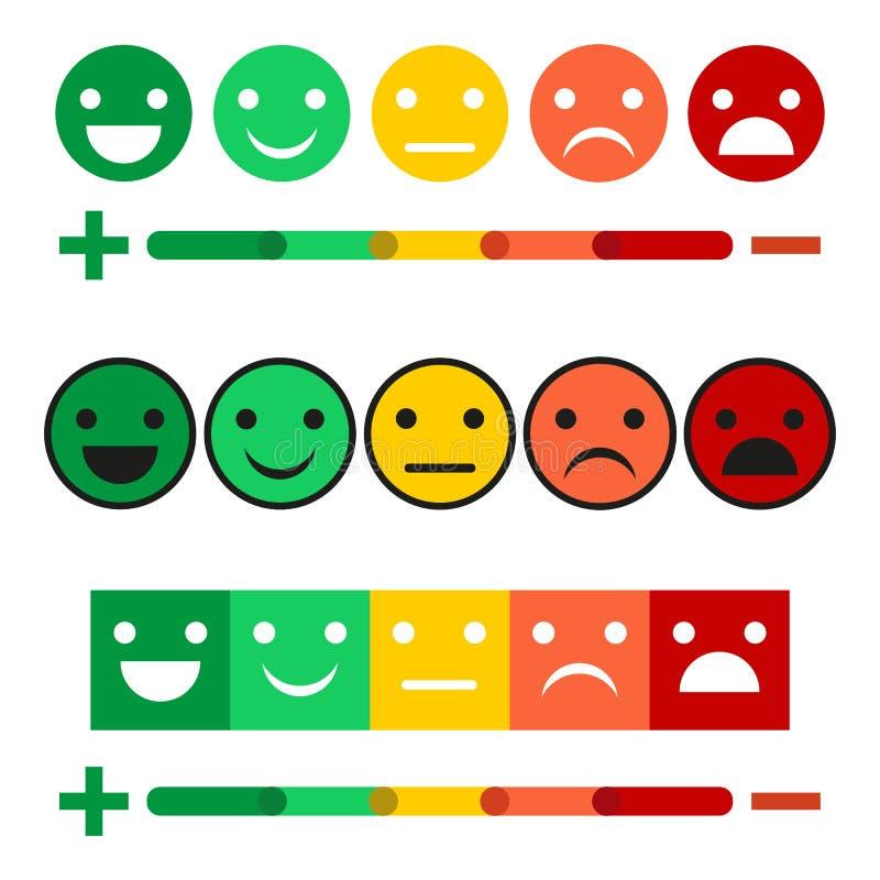 El ejemplo fijó de diseño de concepto de la reacción, de fondo de la escala de las emociones y de bandera Sonrisa, cólera, disgus ilustración del vector
