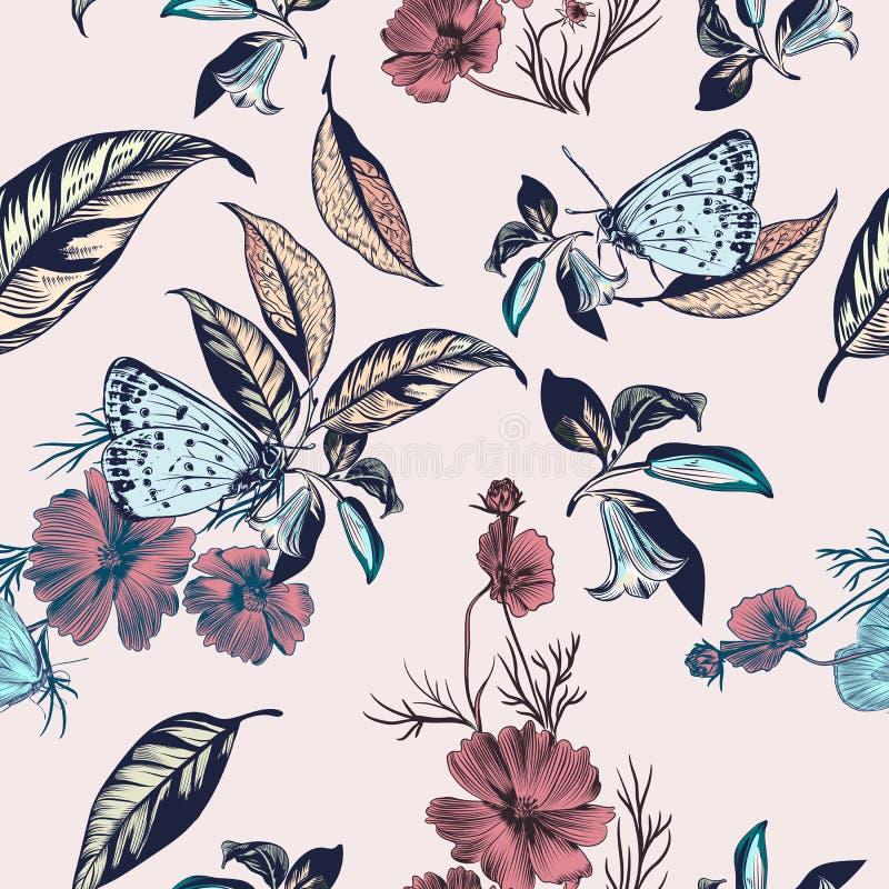 El ejemplo floral con la mano del vector dibujada florece y el cosmos la Florida libre illustration
