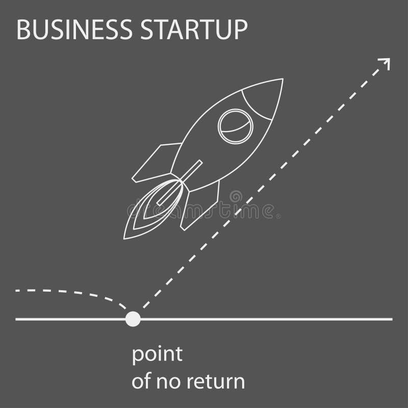 El ejemplo gráfico del concepto del contorno simple creado por el esquema a propósito de negocio empieza para arriba para el uso  ilustración del vector