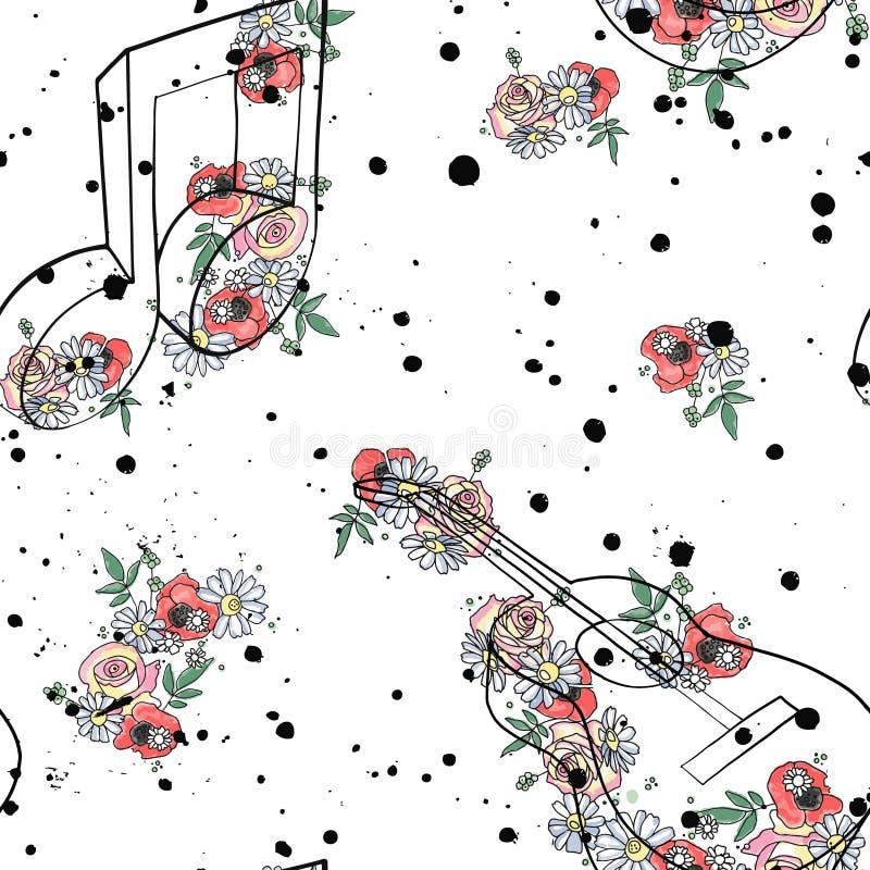 El ejemplo gráfico del modelo inconsútil del vector de las notas de la música de la guitarra, hojas de las flores ramifica tinta  stock de ilustración
